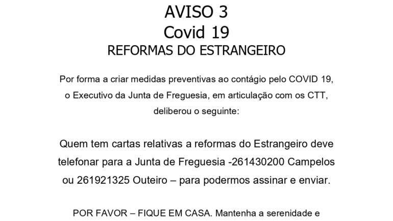 AVISO 3 – COVID 19