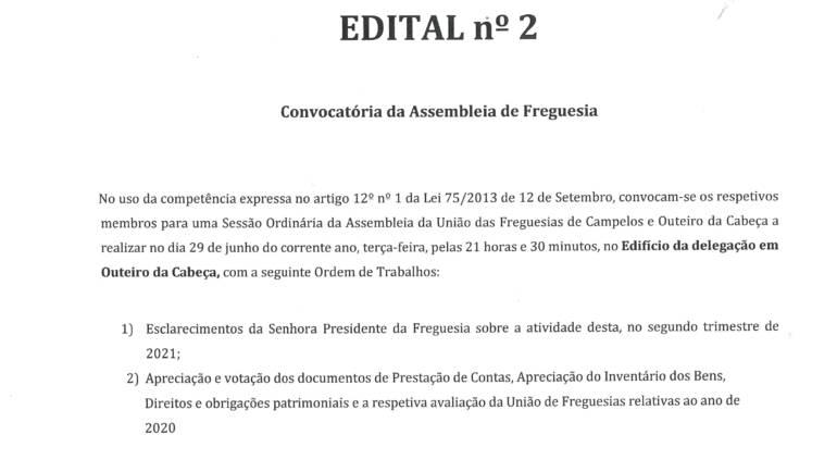 Edital 2 – Assembleia de Freguesia